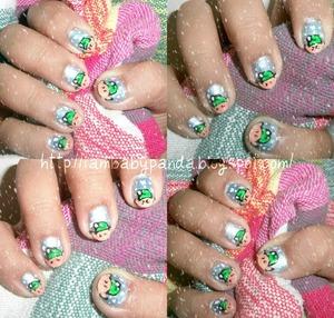 to see how to make it, go to http://iambabypanda.blogspot.com/2011/12/mani-monday-santas-elves-nail-art.html