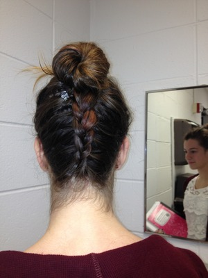 Here is another look I did .. It is an inverted or Dutch braid to an easy bun .. I'm am trying hard every day to do new looks .. Please comment and like .. Thanks a lot