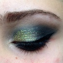 Eye makeup using the MAC green and teal holiday pigment set 💙💚