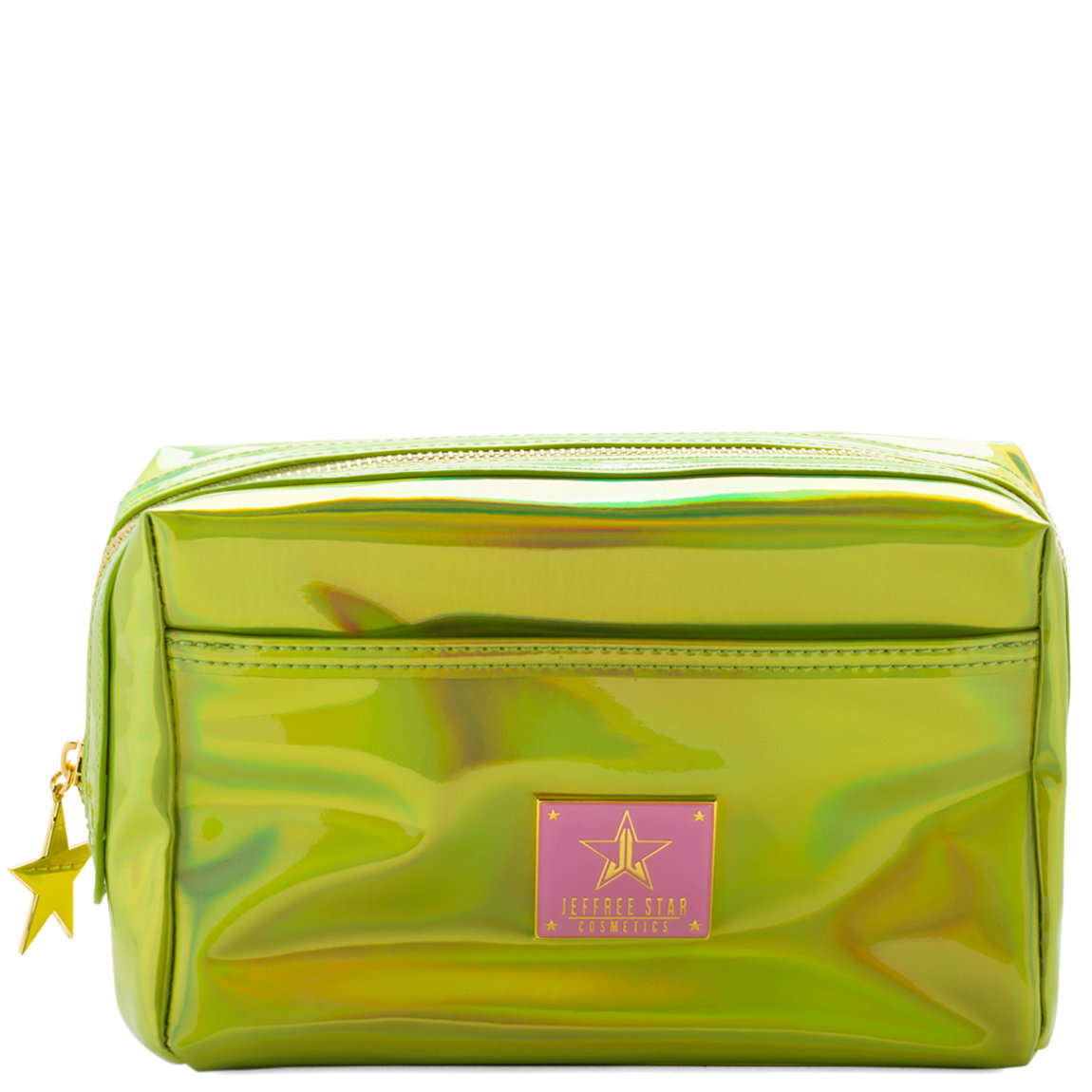 Jeffree Star Cosmetics Makeup Bag Holographic Alien Yellow product swatch.