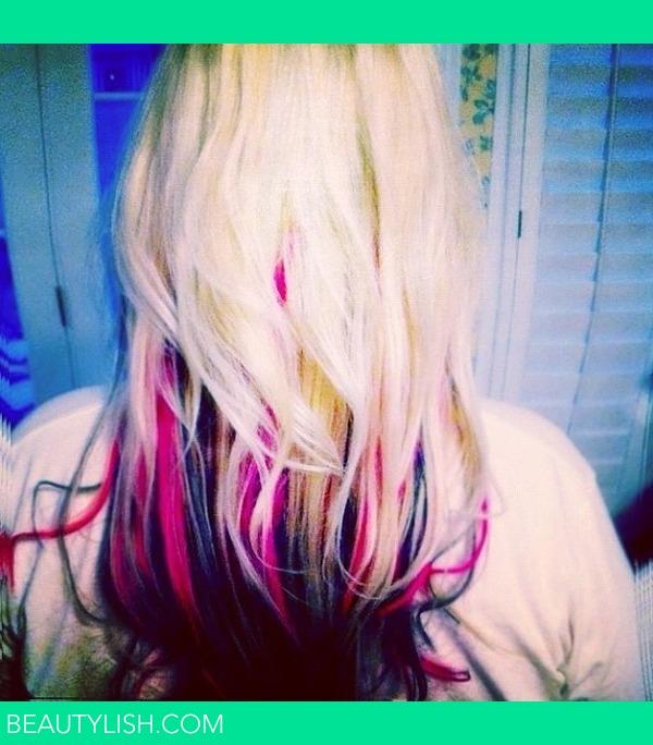 My Blonde Hair With Pink Dark Brownish Black Extensions Katie
