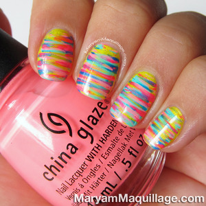 details & how-to: http://www.maryammaquillage.com/2013/07/neon-painterly-stripes-nail-art.html