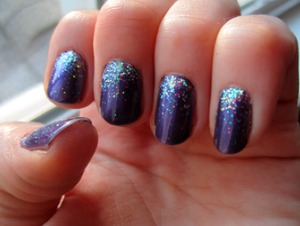 For this manicure I used: Nicole by OPI Virtuous Violet Loose iridescent glitter from Michaels