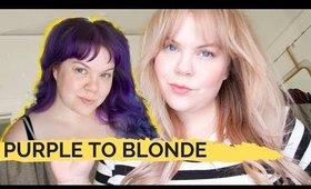 so...I'm blonde now. MEGA Purple to Rose Gold hair transformation