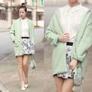 Lapel Buttoned Slim Sheer Light-green Woolen Coat