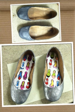 Took a pair of old black flats, added silver Mod Podge the blinged them out with silver glitter