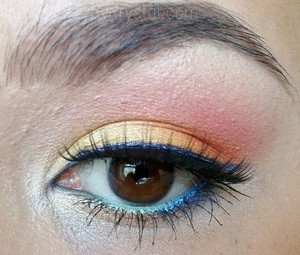 EOTD 6/16/12 Birds Of Paradise Urban Decay Eyeshadow Primer Potion (original/sheer) NYX Jumbo Pencils in Yellow, Purple *Fi.R Cosmetics pigments in Peep, Jazzy Jewel MAC Eyeshadows in Sushi Flower, Rule, Brule, Short Shorts, Soft Brown NYX Pigments in Grass Pearl, Space Pearl (on the waterline) MAC Eyeshadow in Cross Cultural (brows) Essence Clear Brow Gel Revlon Grow Luscious Mascara - Blackest Black Clinique Bottom Lash Mascara MAC Eye Kohls in Fascinating, Smolder