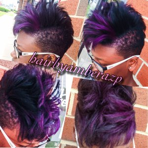 Relaxed hair with bleach hilights and then pravana violet