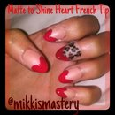 Matte and Shine Heart French Tip with Leopard