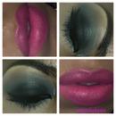 dark green smokey eye with pink lip!