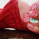 holiday candy cane and holly nails