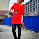 Zippered Slim Sheer Red Coat