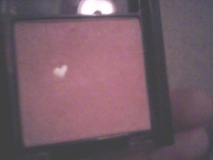 just thought this was the COOLEST thing ever! i was just using my blush and i blew on it and this lil hearrt appears! too cute!!  <3