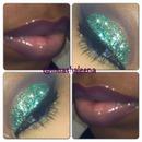 turquoise glitter nude lips