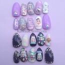 Barbie Punk marble gel nails