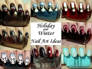 See my tutorials for the designs & more photos of each manicure here: http://www.swatchandlearn.com/holiday-winter-nail-art-ideas
