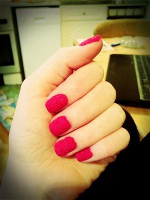 Basic pink nail velvet   Orly - Nail Lacquer in Purple Crush   Unbranded Velvet flocking powder in Hot Pink (ebay)