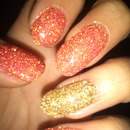 red and gold glitter gel nails