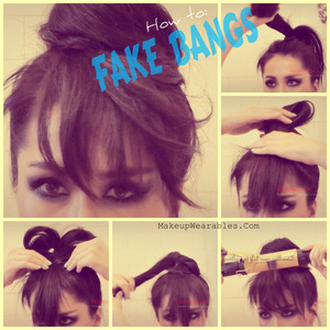 Quick and easy, step-by-step, DEMI LOVATO inspired, hair tutorial video (2013 Heart Attack), learn how to fake having bangs with a hair bun or a topknot, for short, medium, or long hair.  Hair tutorial can be found here. http://www.makeupwearables.com/2013/03/how-to-fake-having-bangs-with-hair-bun.html