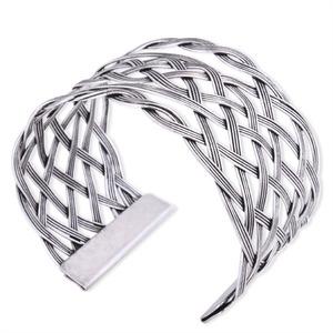 Fashion Silver Tone Weaved Wide Cuff Bracelet.jpg