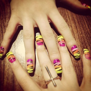 Colourful zebra nails LOVVEEE