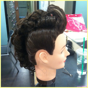 with shorter hair  brush the hair up and pin it and do on both sides all the way in a mohawk (obviously) then at the top curl the little sections.  OR curl your ends then pin it up into a mohawk  its pretty simple and self explanatory