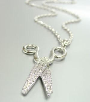 Silver Crystal Scissor Necklace 9