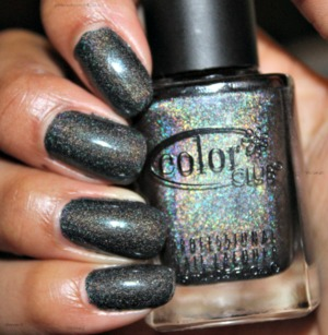 This is two coats of the gorgeous Color Club Revvvolution. A gorgeous dark gray holographic.