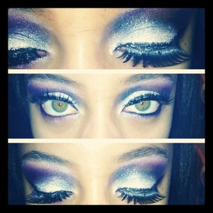 I created this look with NYX's Glitter Mania in Crystal.