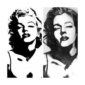 Here is a body paint I created based off a popular Marilyn Monroe  silhouette photo.(Side by side)