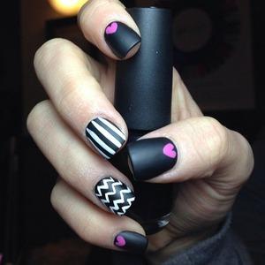 Black, White, Stripes, Chevron & pink heart Nails