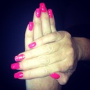 pink gel nails with glitter ring finger x