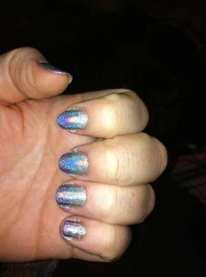 Silver ,blue and purple hologram nails