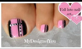 Quick Toenail Design | Pink and Black Pedicure ♥