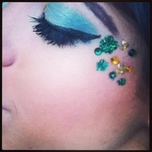 Having some fun with glitter and stickers.  A look you can recreate fun at home for st Patrick's day