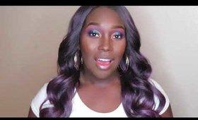 Purple Hair !! SENSATIONNEL EMPRESS NATURAL CENTER PART LACE FRONT EDGE WIG TRISSA
