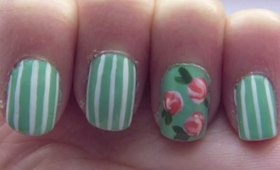 Vintage Inspied Mixed Print Nails
