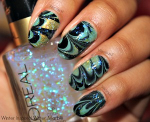 Winter Inspired Water Marble. Nail polishes I used were: Sinful Colors Open Seas, Sally Hansen Black Out, Milani 3D & L'oreal The Holographic.