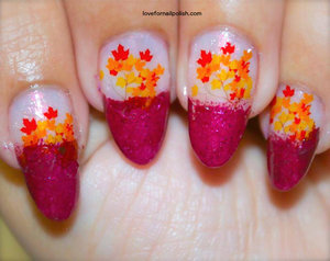 Detail Tutorial http://lovefornailpolish.com/nail-design-for-fall-water-transfer-nail-art