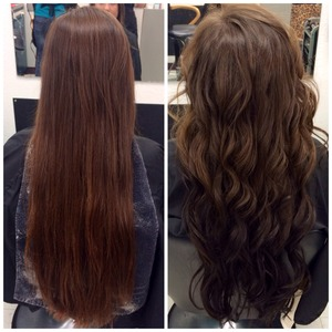 Reverse ombré from light brown to dark brown (7n to 4n)
