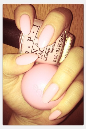 """""""Pink- ing of you"""" by OPI (note: the real color is much darker than this;) )"""