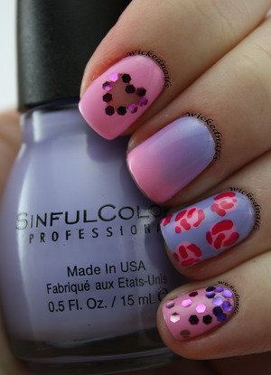 Gradient, floral, glitter placement, and cutout heart for Valentine's Day by Rylee of WickedNails