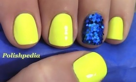 Neon Yellow Nails With A Glitter Accent Nail