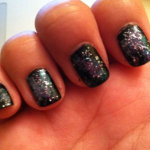 """Tried out """"galaxy nails"""" inspired by AndreasChoice"""