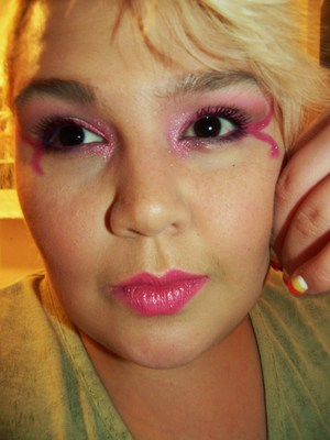 I love my lashes here. My eyebrow, not so much. It is always unruly. I love pink eyeshadow! So pretty with brown eyes. =)