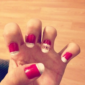 Santa clause nails (: