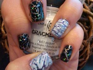 crackle black & white with glitter purple and multi color sliver