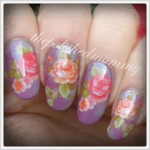 #nailartnov -Floral. http://www.thepolishedmommy.com/2013/11/vintage-roses.html