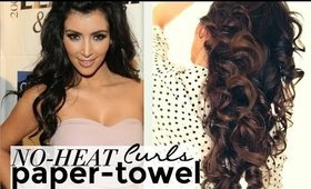 "★ NO-HEAT KIM KARDASHIAN CURLS with ""Paper-Towels"" 