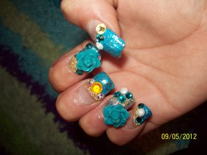 blue pink and clear acrylic with swarovski stones :)